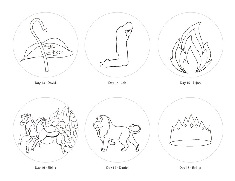 Jesse tree symbols sketch coloring page for Jesse tree ornament templates